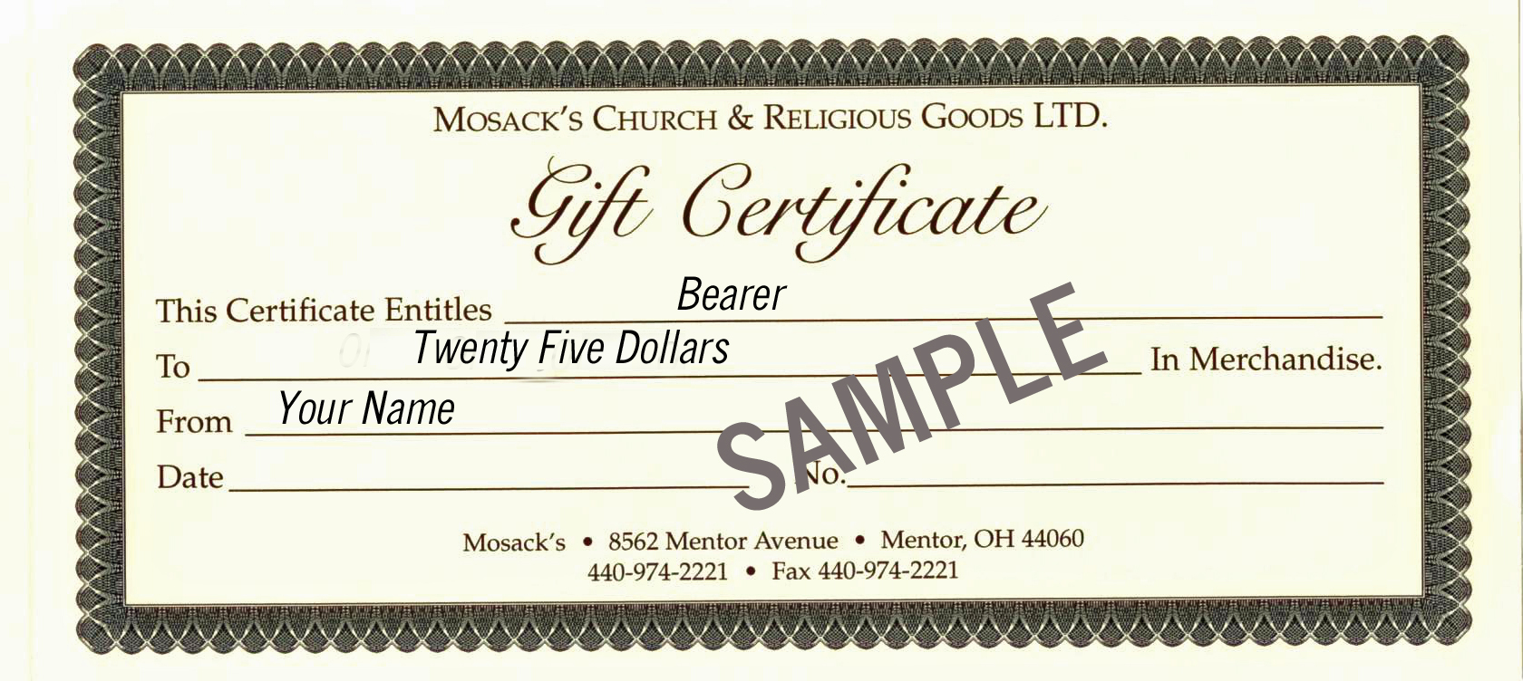MOSACK'S $25 Gift Certificate