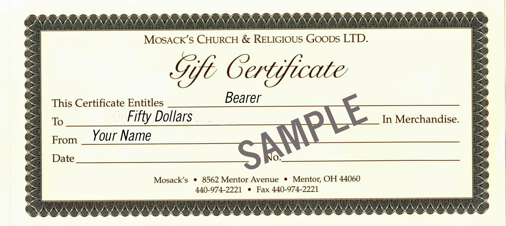 MOSACK'S $50 Gift Certificate