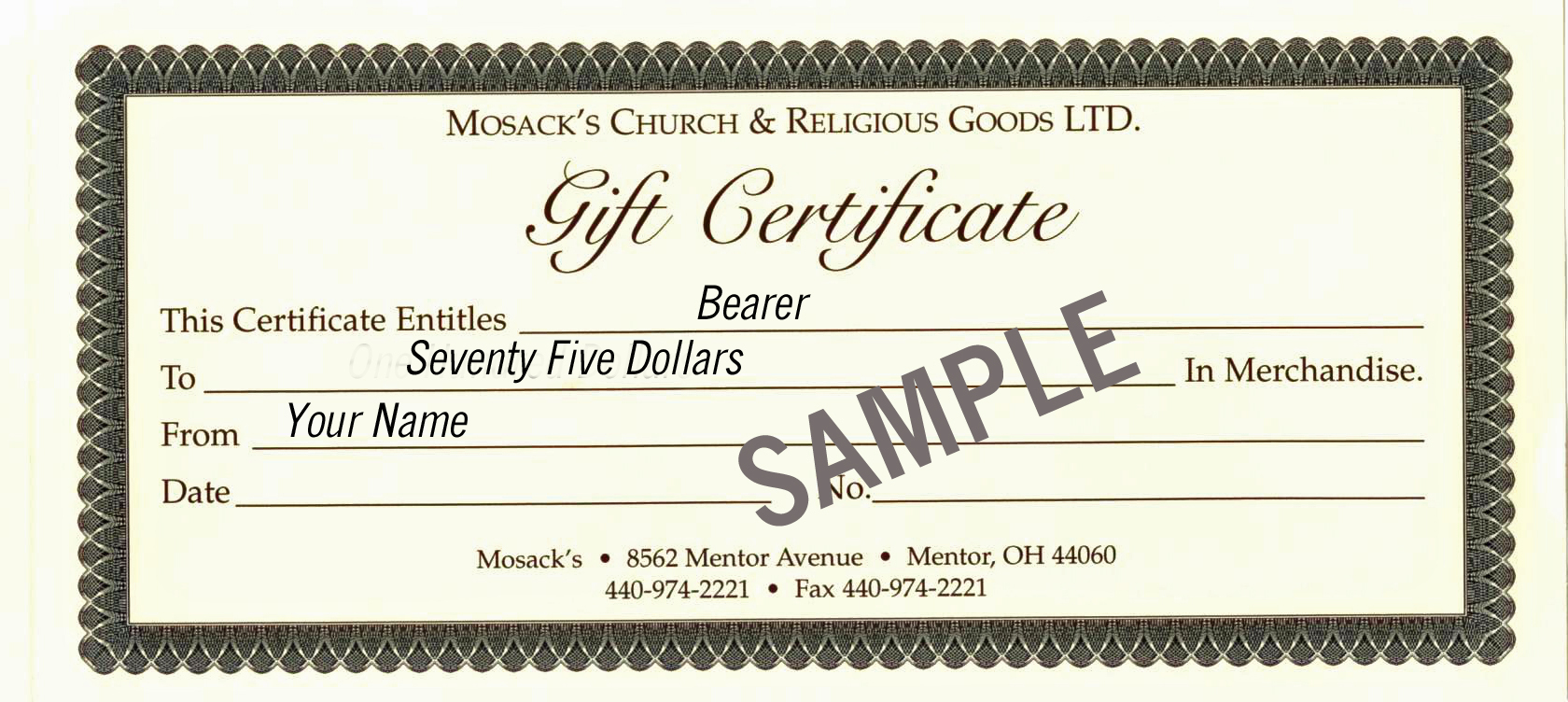 MOSACK'S $75 Gift Certificate