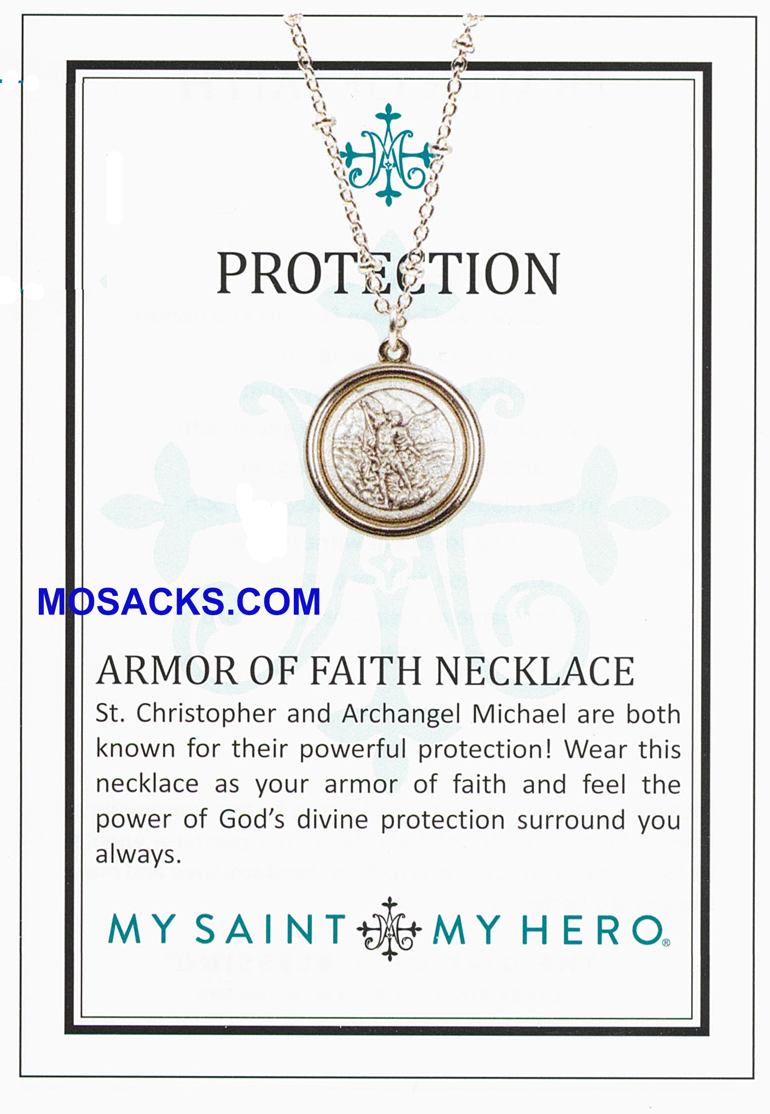 My Saint My Hero Armor of Faith Protection Bead Ball Necklace - NK00058-S