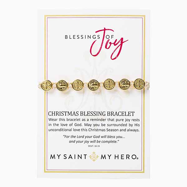 My Saint My Hero Christmas Blessing Of Joy Gold Bracelet 10011MG