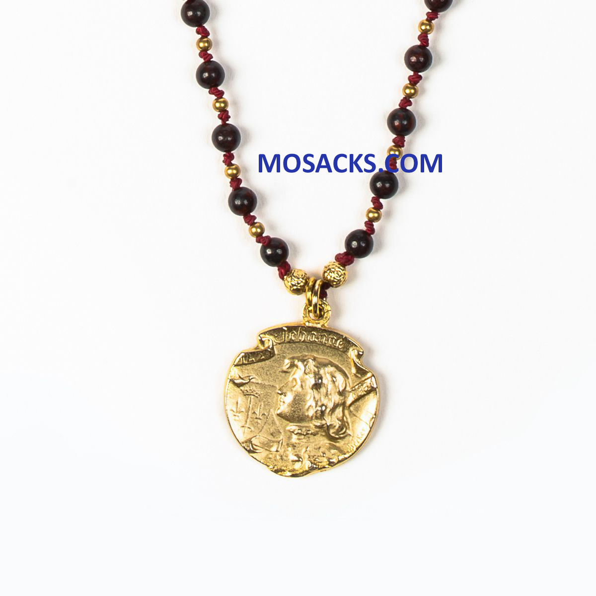 St. Joan of Arc My Saint My Hero Courage Necklace Jasper Bead Gold-NK00043-G