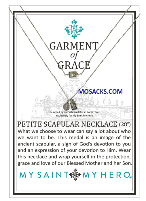 "My Saint My Hero Garment of Grace Petite Scapular Necklace 28"" NSS"