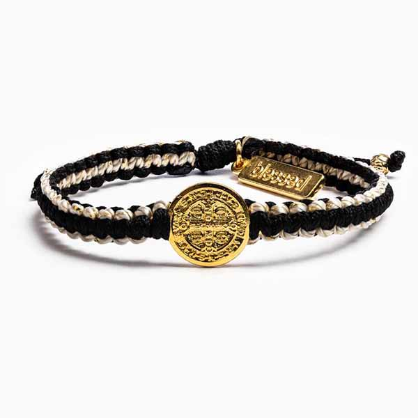 My Saint My Hero Gratitude Blessing Bracelet Black Gold BR41-G-0114