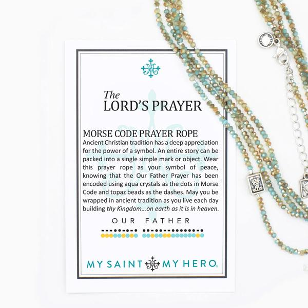 "My Saint My Hero The Lord's Prayer Morse Code Prayer Rope Necklace NK28-LP is 51"" - 53"""