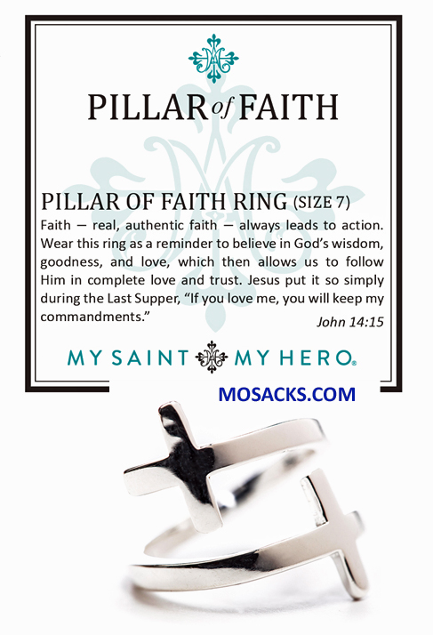 My Saint My Hero Pillar of Faith Ring Silver RG2-S-7