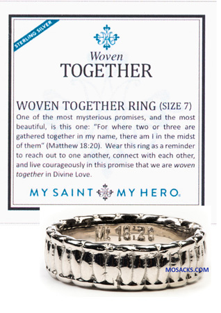 My Saint My Hero Woven Together Ring Sterling Silver RG00003-SS-7 RETIRED