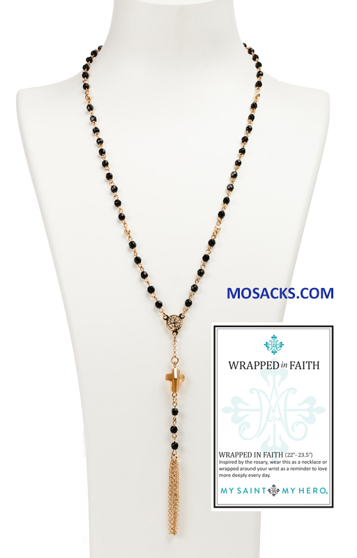 My Saint My Hero Wrapped In Faith Rosary Necklace Gold and Black NK25-G-BG RETIRED
