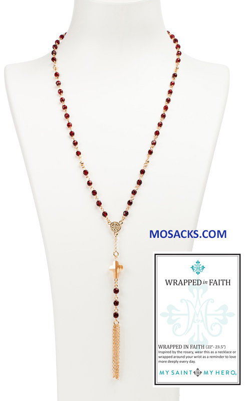 My Saint My Hero Wrapped In Faith Rosary Necklace Gold and Red NK25-G-RG RETIRED