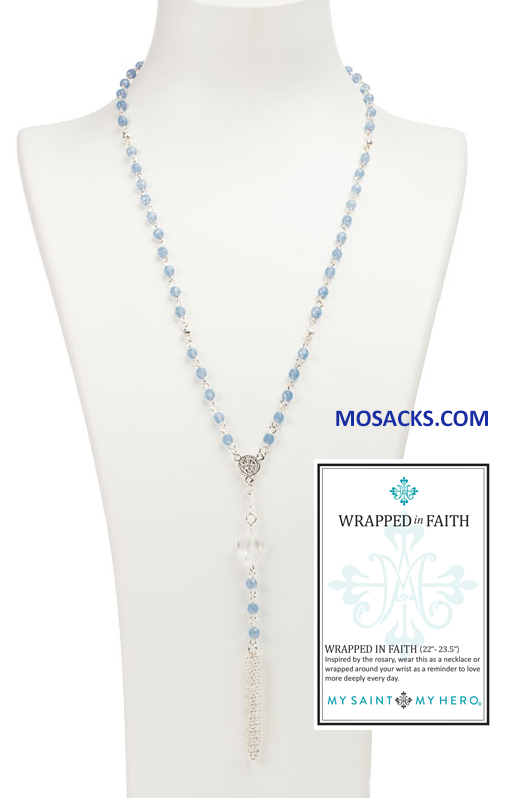 My Saint My Hero Wrapped In Faith Rosary Necklace Silver and Blue NK25-S-BC RETIRED