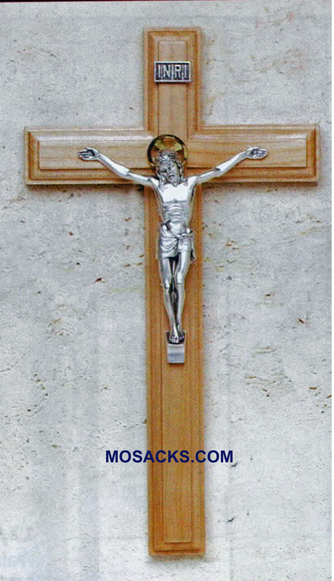 "Maple Wood Crucifix with Italian Salerni Corpus  9"" 17/436"