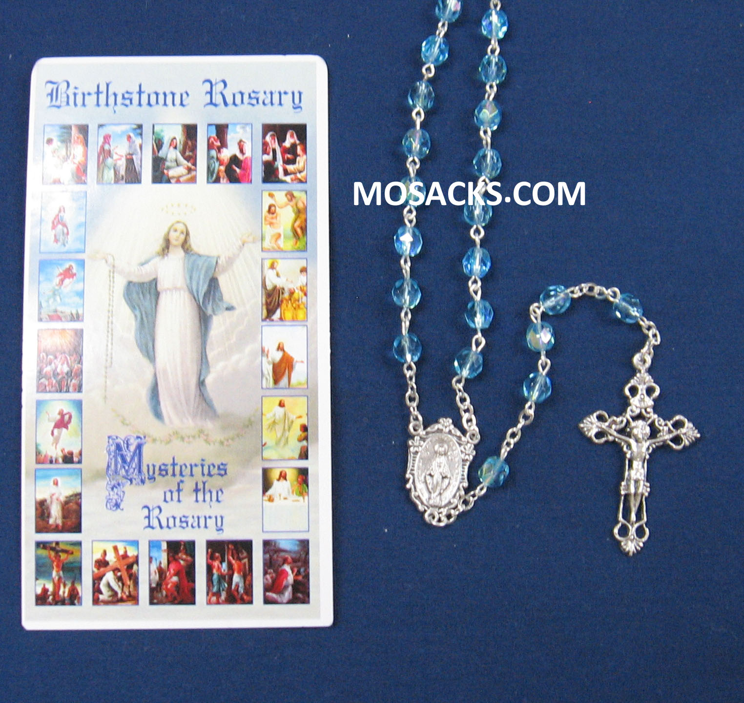 March Aquamarine Aurora Borealis Birthstone Rosary 64-307/AQ/C1