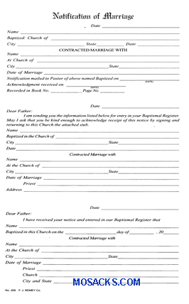 Marriage Notification Book Form No. 209