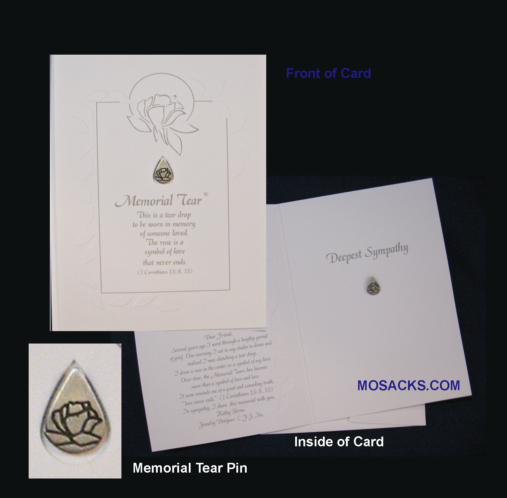 Memorial Tear Card With Pin-MTC50