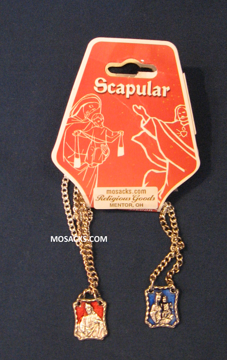 "Metal and Enamel Scapular with 30"" endless chain 64-SC/EM/C"