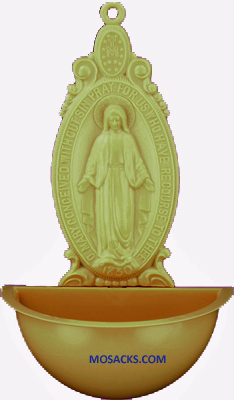 Miraculous 5 Inch Tan Holy Water Font 185-901T