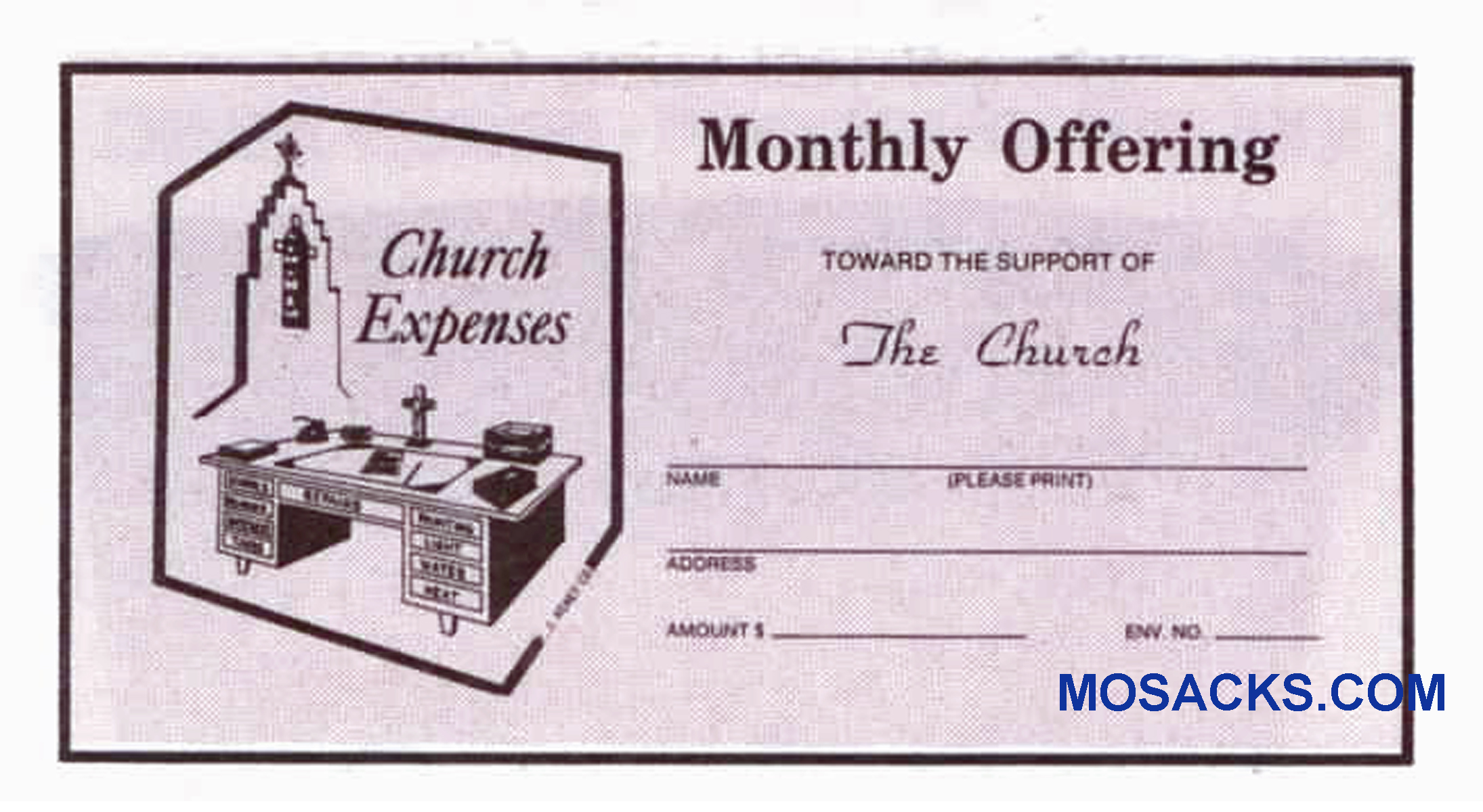Monthly Church Offering Envelope 6-1/4 x 3-1/8 #304-367