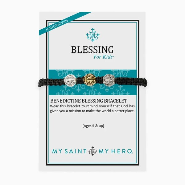 My Saint My Hero Blessings for Kids Benedictine Bracelet Black KBB-COLORS