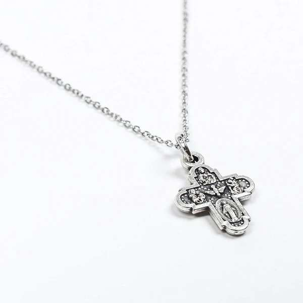 My Saint My Hero Four Way Cross Heavenly Blessing Necklace-34106SL