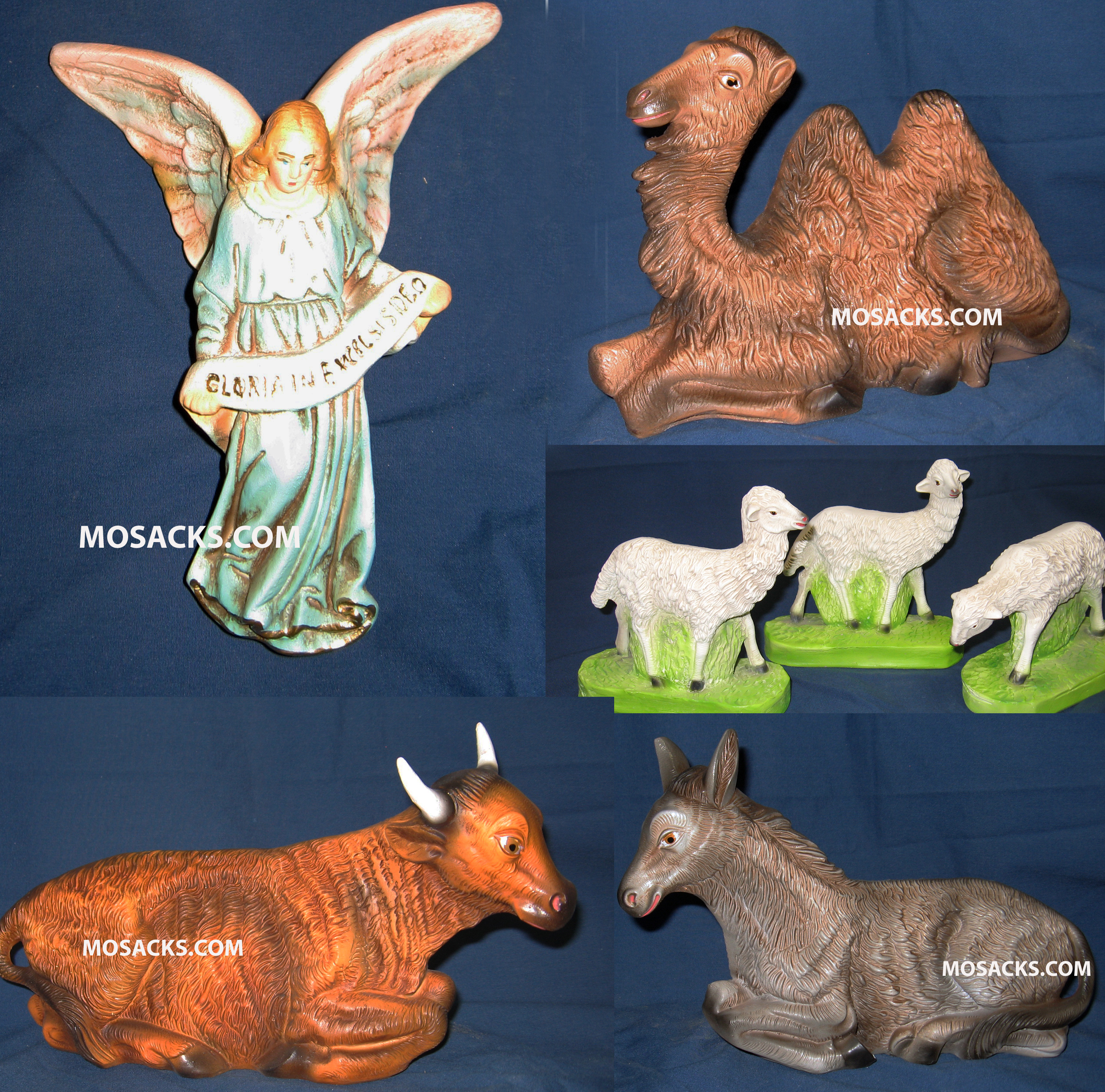 "Nativity Set 12"" Traditional Plaster Animals 7 Piece Set 190-1217"
