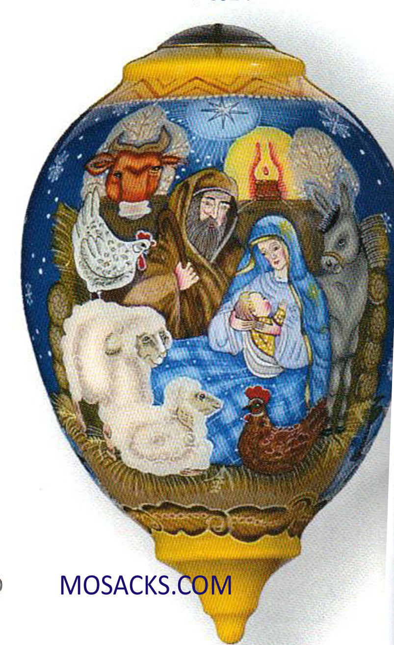 Ne'Qwa Art™ Hand-Painted Ornament Manger #877