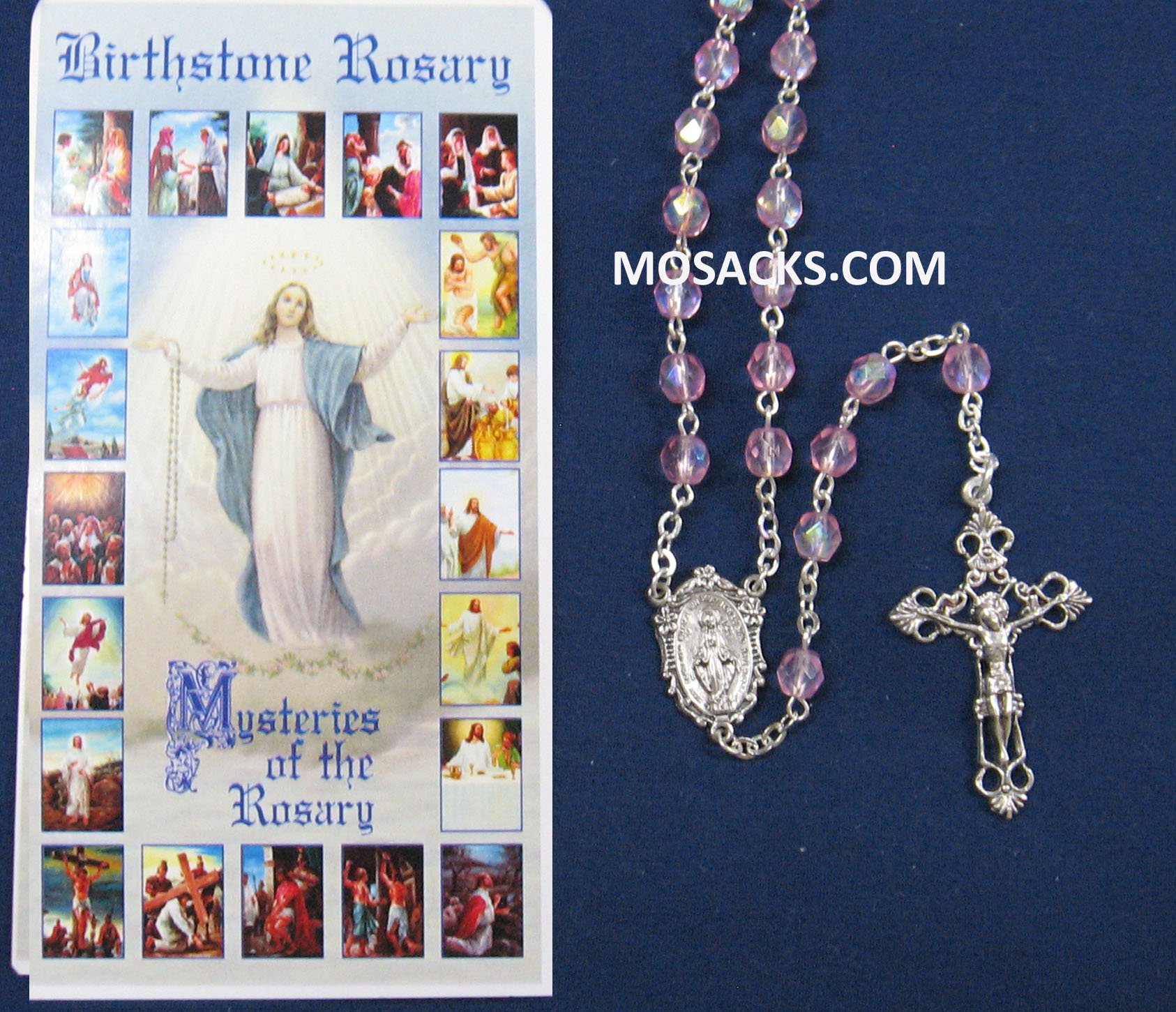October Rose Aurora Borealis Birthstone Rosary 64-307/RZ/C1