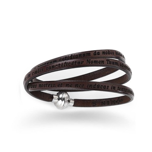 Our Father Leather Brown Bracelet-PNEN05-60