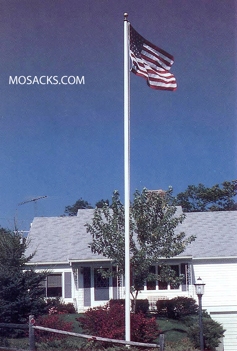 Residential 25' White Fiber Flagpole, Ext. Halyard