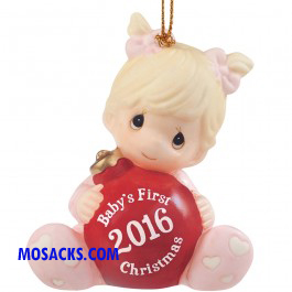 Precious Moments 2016 Baby's First Christmas Ornament Girl-161005