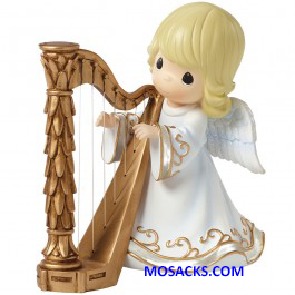 Precious Moments Angel Playing The Harp Musical-161108