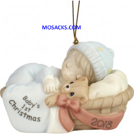 Precious Moments Baby's First Christmas 2018 Ornament Boy 181006