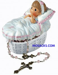 "Precious Moments ""Baptized In His Name"" Girl Rosary Box 153406"