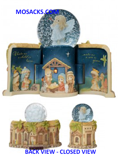 Precious Moments Come Let Us Adore Him Nativity Lighted/Musical LED Scene & Snow Globe-181113