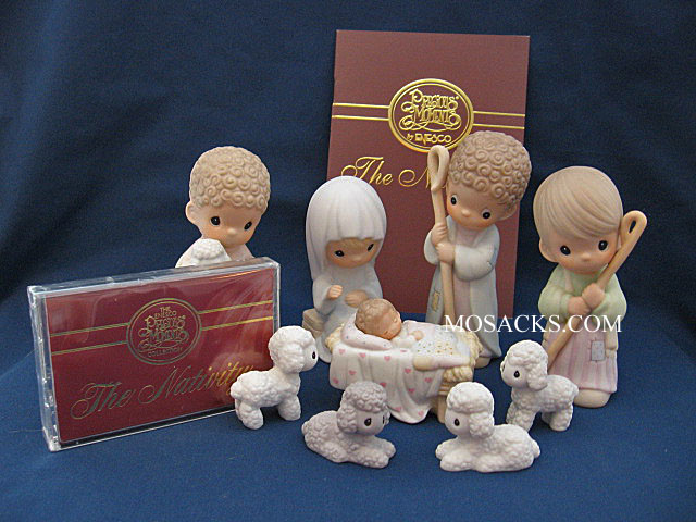 "Precious Moments, Come Let Us Adore Him Nativity 9Pc, 1.38""- 5.25"", 104000"