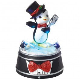 "Precious Moments LED Penguin with Microphone Musical 5.5""h 161109"