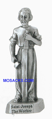 Pewter Statue 2 inch St. Joseph the Worker -JC3103E