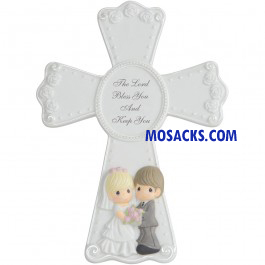 "Precious Moments Porcelain Wedding Cross With Stand, 7.75"" -143406"