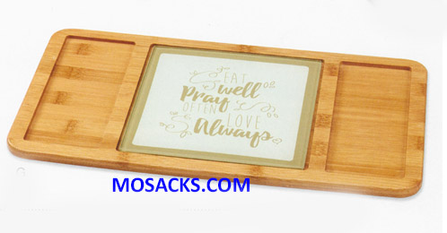 "Bountiful Blessings Bamboo Serving Tray 15.5"" x 8.5"" 182426"