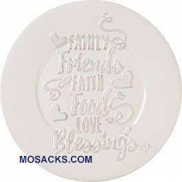 "Bountiful Blessings ""Family Friends Faith Food Love Blessings"" Ceramic Plate  10"" Dia 182424"