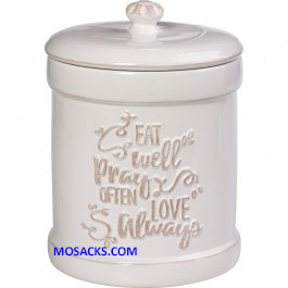 "Bountiful Blessings Eat Pray Love Canister 9""h x 6.5""d 173413"