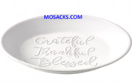 "Bountiful Blessings ""Thankful Grateful Blessed"" 9"" Ceramic Pie Plate 179008"