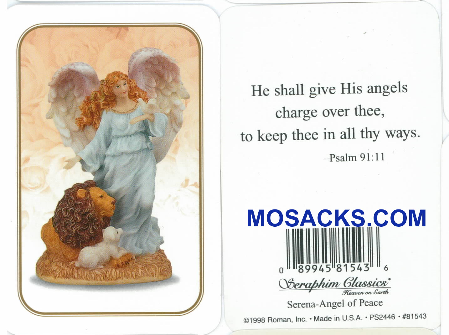 Psalm 91:11 Seraphim Angel Holy Card-81543