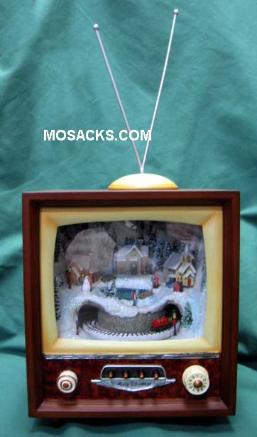 Retro Lighted Musical TV w/ Train Roman Inc. #36431