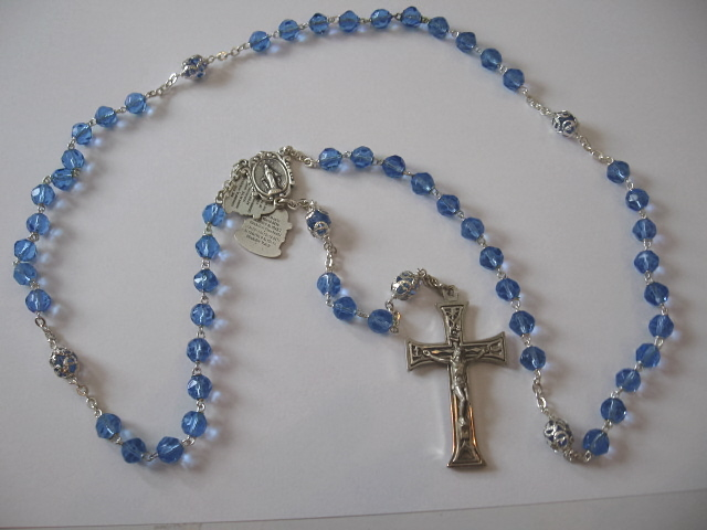 Mystery Center Piece Sapphire Blue Rosary #139/04