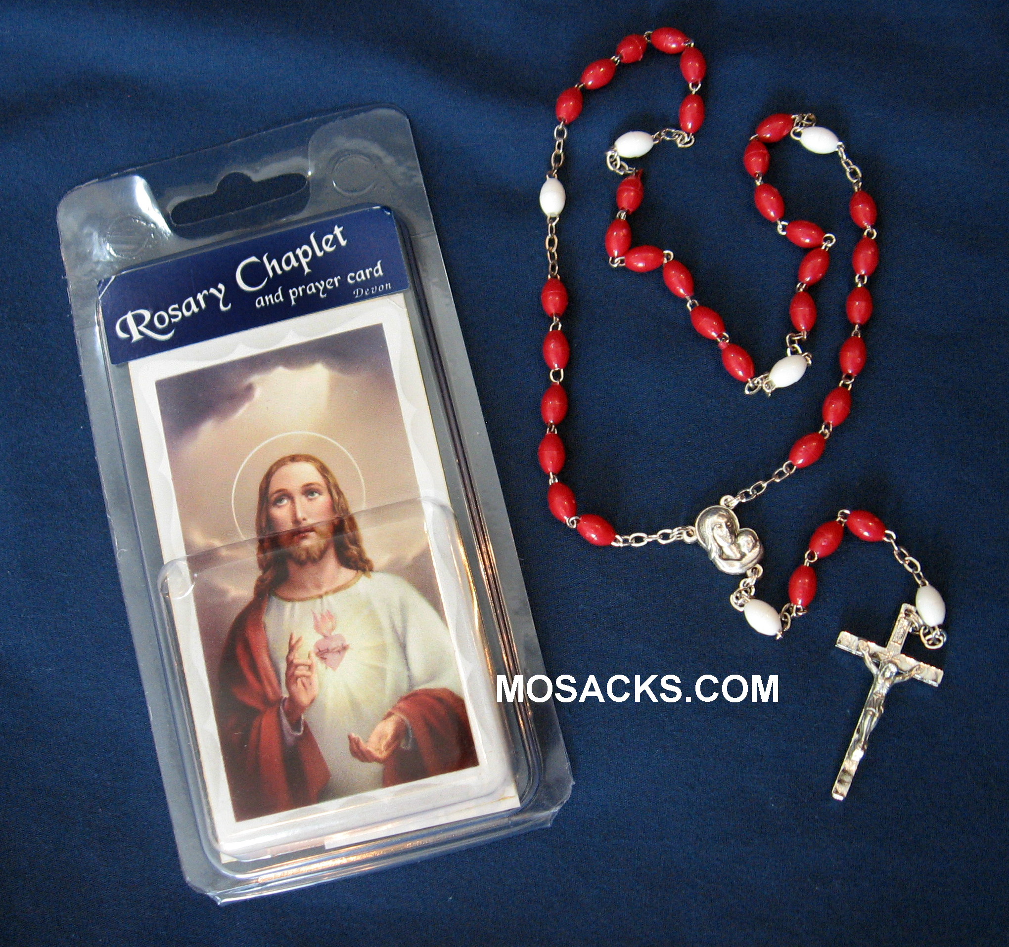 Sacred Heart Rosary Chaplet and Prayer Card, 5887CP