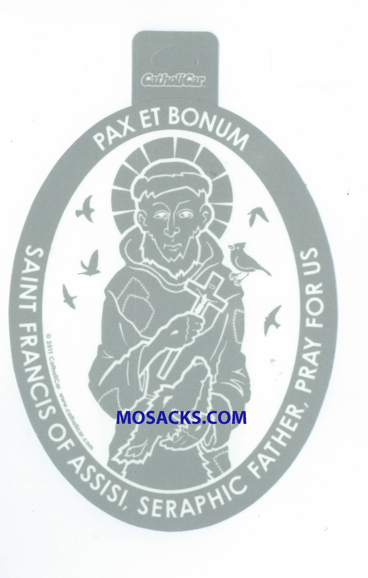 Saint Francis Of Assisi Oval Window Decal-CCT46
