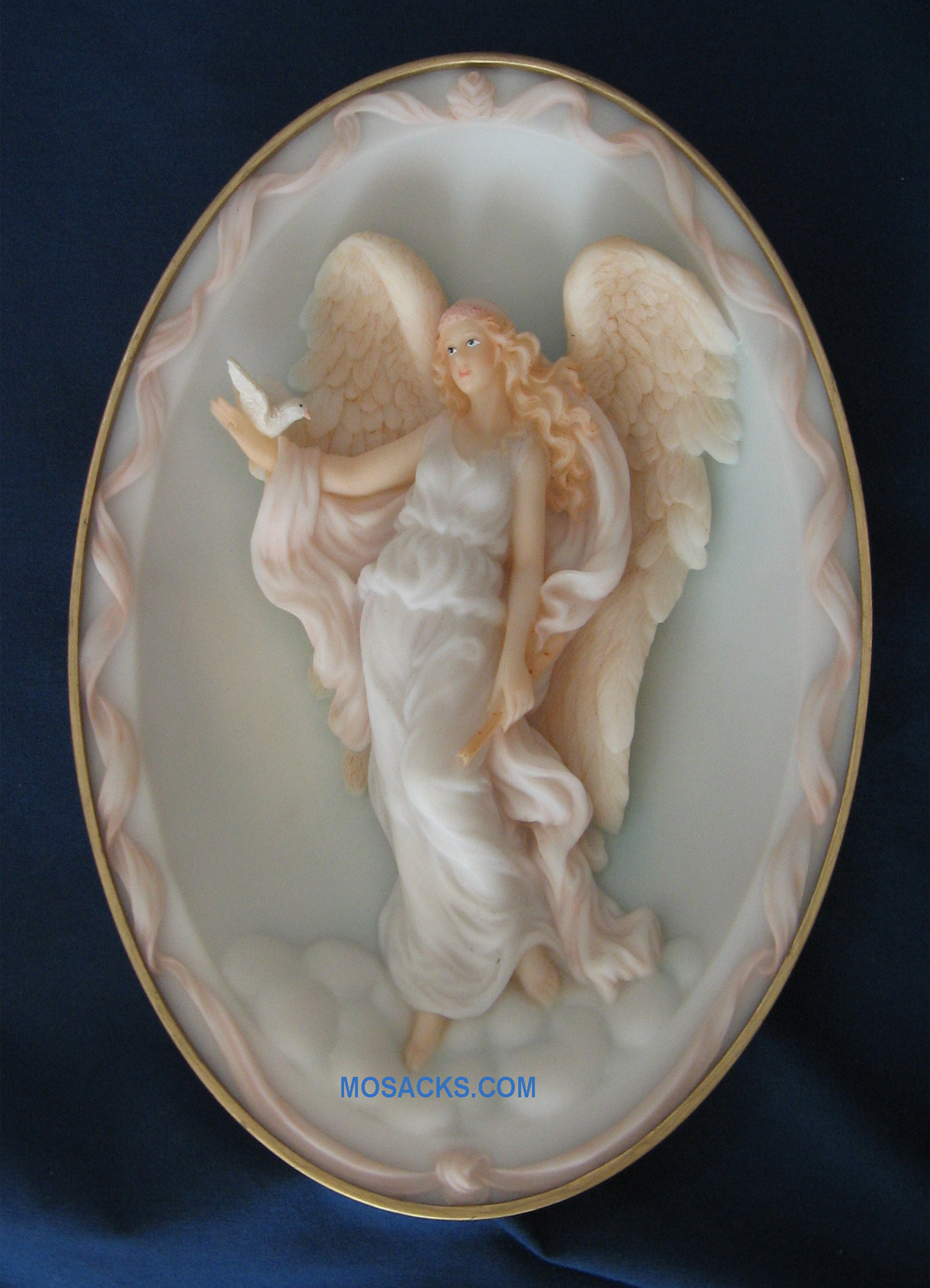 "This Seraphim Classics Angel Isabel ""Gentle Spirit"" Heaven on Earth is an Angel holding a Dove Oval Plate with a ring on the back for hanging 7.5"" H #74935"