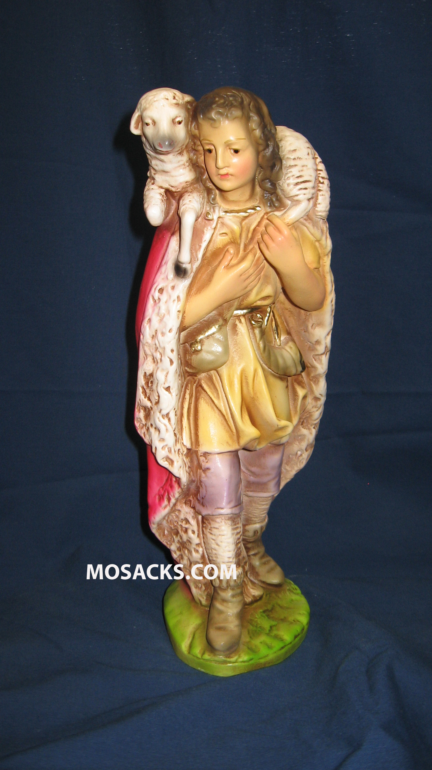 Shepherd Carrying Sheep Traditional Plaster 12 Inch 190-GABRIEL