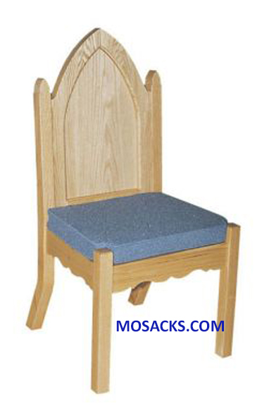 "Side Chair Reversible Cushion 21"" w x 21"" d x 42"" h 40-972S. Side Chair #972S and matching Celebrant Chair #972A have wood back with Gothic Arch, various wood finishes and fabric colors are available 40-972S"
