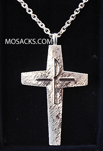 "Silver Finish Pectoral Cross w/ 36"" Chain #52090"